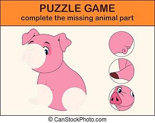 image, complet, disparu, puzzle, parties, trouver