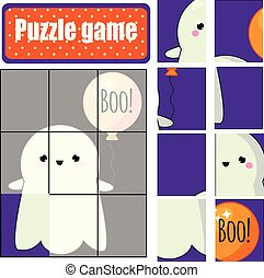 image, complet, ghost., puzzle, halloween, toddlers., jeu, mignon, enfants