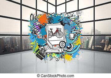 image composée, de, événement vie, doodl