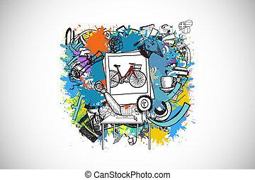 image composée, de, événement vie, doodles, sur, peinture, eclabousse