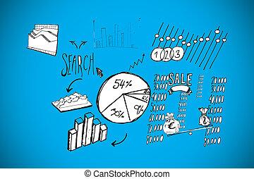 image composée, de, données, analyse, doodles