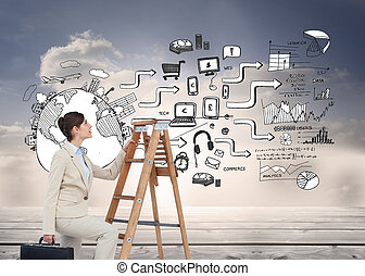 image composée, de, femme affaires, escalade, échelle...