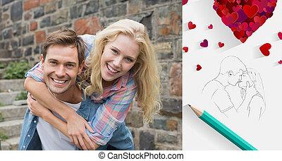 image composée, de, hanche, jeune couple, amusant
