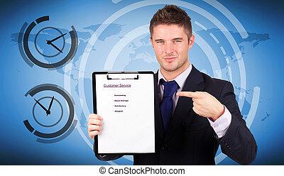 image composée, de, homme affaires, à, service clientèle, rapport