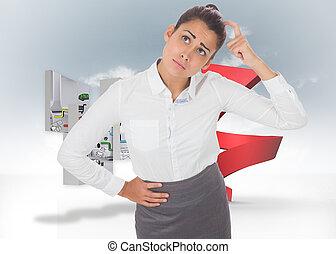 image composée, de, inquiété, femme affaires