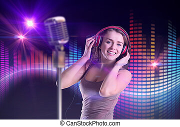 image composée, de, jolie fille, écouter musique