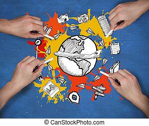 image composée, de, multiple, mains, dessin, voyage,...