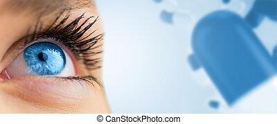 image composée, femme, regarder, bleu, haut, oeil, figure