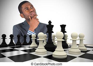 image composée, homme affaires, pensée, jeune