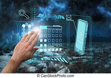 image composée, présentation, main