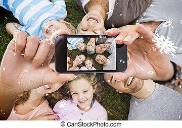 image composée, smartphone, tenant main