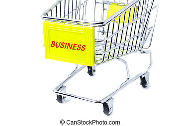 image concept cropped trolley with word business isolated white background