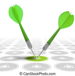 image concept of a good marketing strategy - successful dart...