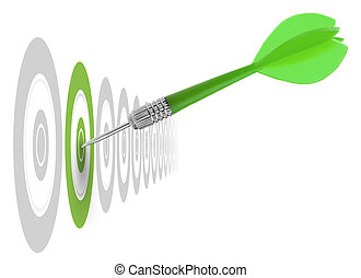 successful dart reaching the green goal, symbol a success or a business challenge, the image is isolated on a white background - illustration