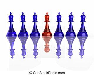image conceptuelle, faux, échecs, leadership.
