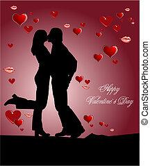 image., couple, couverture, petite amie, vecteur, baiser, jour