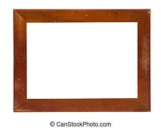 image, coupure, cadre, vendange, fond, plaqué, included, sentier, blanc, bois