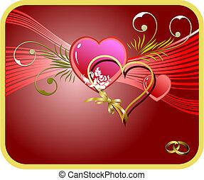 image., couverture, petite amie, vecteur, cœurs, jour