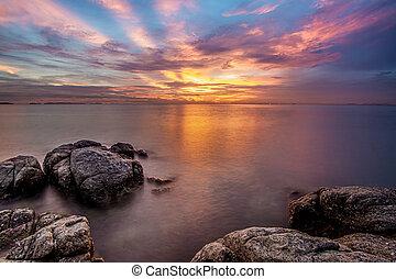image, crépuscule, ciel, temps, long, mer, exposition