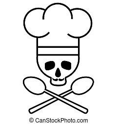 image., cranio, drawing., nero-e-bianco, spoons., chef, s, vettore, attraversato, baffi, icon., cappello, logotipo
