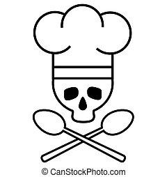 image., cranio, drawing., nero-e-bianco, spoons., chef, s, vettore, attraversato, icon., cappello, logotipo