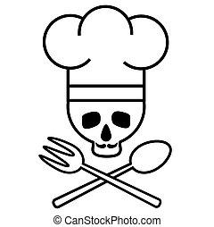 image., cranio, fork., drawing., nero-e-bianco, s, chef, cucchiaio, vettore, attraversato, baffi, icon., cappello, logotipo