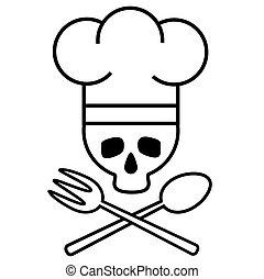image., cranio, fork., drawing., nero-e-bianco, s, chef, cucchiaio, vettore, attraversato, icon., cappello, logotipo