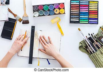 image, croquis, paints., artiste, crayons, sommet, carnet ...