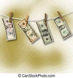 image., dólares, corda, experiência., penduradas, conceitual, abstratos