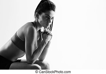 image dame, jeune, noir, blanc, sport