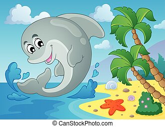 image, dauphin, 5, thème