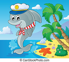 image, dauphin, thème, 3