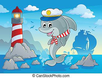 image, dauphin, thème, 7