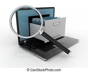 image, de, 3d, renderer, illustration., ordinateur portable, et, files., données, storage.