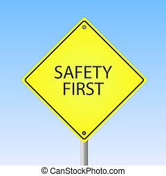 """image, de, a, """"safety, first"""", signe jaune, à, a, ciel bleu, arrière-plan."""