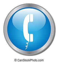image, de, a, téléphonez icône, sur, a, bleu, button.
