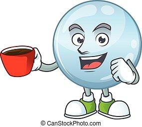 image, dessin animé, caractère, tasse, gouttelettes, café, ...