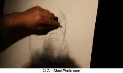 image, dessiner, rues, rome, crayon, peintre
