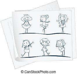image, différent, papier, filles, six, positions