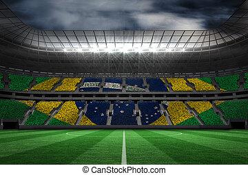 image, digitalement, brésilien, engendré, composite, drapeau...