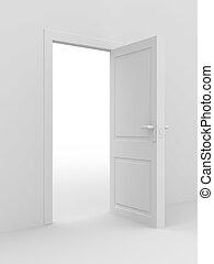 image., door., inre, hem, vit, öppna, 3