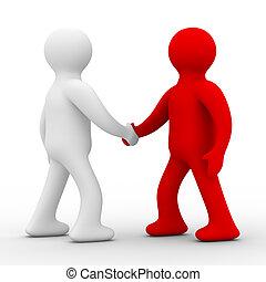 image., dos, aislado, businessmen., 3d, reunión, handshake.