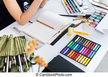 image, ensemble, créer, gouache, artiste, collection., image...