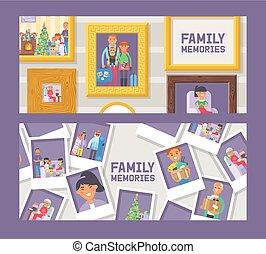 image, ensemble, famille, or, frames., bois, mémoires, photographie, memory., fimily, framing., photos, bon, vecteur, membres, vendange, events., illustration., bannières, gens., heureux