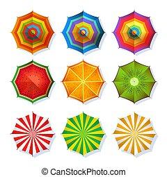 image, ensemble, parapluie, coloré, été, sommet, isoler, relaxation., vecteur, plage blanche, vue