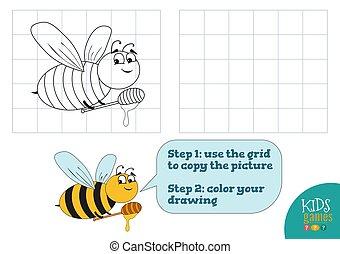 image, exercise., illustration, couleur, caractère, abeille, rigolote, vecteur, copie, dessin animé
