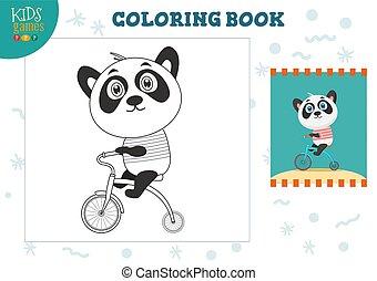 image, exercise., rigolote, couleur, illustration, dessin animé, vecteur, copie, panda