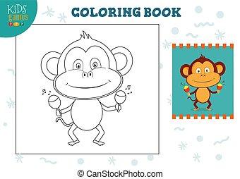 image, exercise., rigolote, couleur, illustration, vecteur, copie, dessin animé, singe
