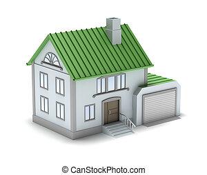 image., familia , house., pequeño, 3d, isola