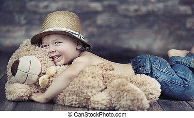 image, fantastique, jouer, enfant